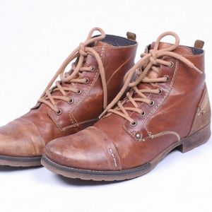 Bull Boxer Men Boot Lace Distress Brown Leather 10